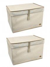 2 Adet - Kapaklı Organizer Kutu - Çok Amaçlı ( Çamaşır-Saklama-Düzenleme vb.) Hurç, Kutu 50x40x30 - Maxi Boy Kutu - Kahverengi
