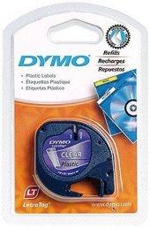 Dymo Letratag Plastik Şerit 12mmX 4 Metre Şeffaf Suya Dayanıklı