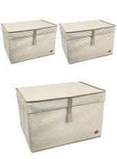 3 Adet - Kapaklı Organizer Kutu - Çok Amaçlı ( Çamaşır-Saklama-Düzenleme vb.) Hurç, Kutu 50x40x30 - Maxi Boy Kutu - Kahverengi