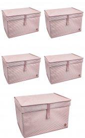 5 Adet - Kapaklı Organizer Maxi Kutu - Çok Amaçlı ( Çamaşır-Saklama-Düzenleme vb.) Maxi Hurç, Kutu 50x40x30 - Maxi Boy Kutu - Pembe