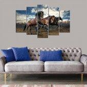 Şahlanan Kahverengi Atlar 5 Parçalı Mdf Tablo