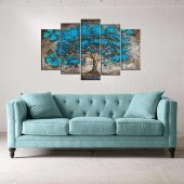 Mavi Çiçekli Ağaç 5 Parçalı Mdf Tablo
