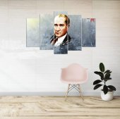 Mustafa Kemal Atatürk 5 Parçalı Mdf Tablo