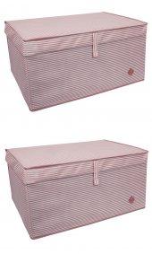 2 Adet - Kapaklı Çok Amaçlı(Çamaşır-Saklama-Düzenleme vb) Hurç, Kutu 70x40x30 - Mega Plus Kutu - Pembe