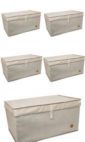 5 Adet - Kapaklı Organizer Mega Plus Kutu - Çok Amaçlı(Çamaşır-Saklama-Düzenleme vb.) Hurç, Kutu 70x40x30 - Mega Plus Boy Hurç/Kutu - Kahverengi
