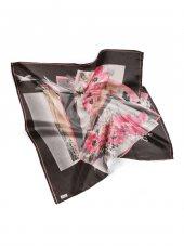 Ebruli Çiçek Desenli Dijital Eşarp Siyah Gri
