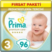 Prima Premium Care Bebek Bezi Fırsat Paketi 3 Beden 96 Adet