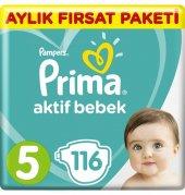 Prima Bebek Bezi Aktif Bebek 5 Beden Aylık Fırsat Paketi 116 Adet