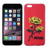 İPhone 6, 6S Gül El İşlemeli Sert Plastik Kılıf - KIRMIZI