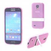 Samsung Galaxy S4 Mini Gt İ9190 Standlı Silikon Kılıf - AÇIK PEMBE