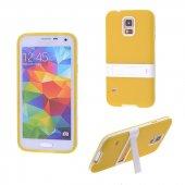 Galaxy S5 İ9600 G900 Standlı Silikon Kılıf - SARI