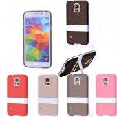 Galaxy S5 İ9600 G900 Standlı Silikon Kılıf - SİYAH