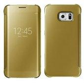 Galaxy S6 Şeffaf Ön Kapaklı Pencereli Aynalı Kılıf - GOLD