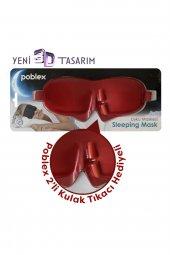 Poblex Uyku Maskesi 3D + Köpük Kulak Tıkacı (Kırmızı)