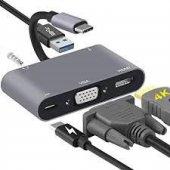 USB-C to HDMI VGA AUX USB 3.0 PD ADAPTÖR ÇEVİRİCİ AKTARICI