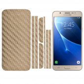 Samsung Galaxy J5 Karbon Fiber Sticker Kaplama Set - GOLD
