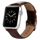 Apple İwatch 6-5-4 44MM 1-2-3 42MM Deri Kordon Kayış Crocodile - KAHVERENGİ