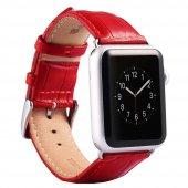 Apple İwatch 6-5-4 44MM 1-2-3 42MM Deri Kordon Kayış Crocodile - KIRMIZI