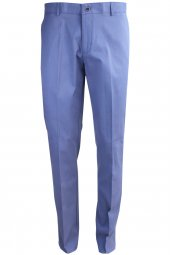 Açık Mavi Armüllü Klasik Erkek Keten Pantolon
