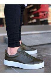 BA0055 Rahat Taban Çapraz Bant Haki Beyaz Erkek Ayakkabı