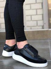 BA0115 BOA Kalın Taban Gizli Bağcık Yeni Sezon Siyah Beyaz Taban Erkek Ayakkabı