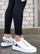 BA0029 3 Bant Legend Beyaz Desenli Kalın Taban Casual Erkek Ayakkabı