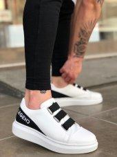 BA0029 3 Bant Legend Beyaz Siyah Kalın Yüksek Taban Casual Erkek Ayakkabı