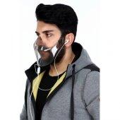 2 Adet Şeffaf Gri Maske - Sert Plastik Maske - Gri Maske