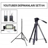 Youtuber Tripod + Mikrofon + Stand + Işık Seti V4