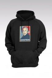Albert Einstein 46 Siyah Kapşonlu Sweatshirt - Hoodie