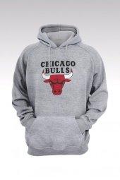 Chicago Bulls 35 Gri Kapşonlu Sweatshirt - Hoodie