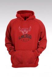 Chicago Bulls 37 Kırmızı Kapşonlu Sweatshirt - Hoodie