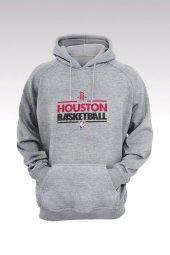 Houston Rockets 68 Gri Kapşonlu Sweatshirt - Hoodie