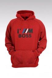Iam BOSS 74 Kırmızı Kapşonlu Sweatshirt - Hoodie