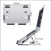 MÜHLEN GL0129 - Gümüş  Ergonomik Taşınabilir Alüminyum Dizüstü Bilgisayar Standı