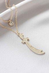 Kılıç Figürlü Gold Renk Taşlı Kadın Kolye