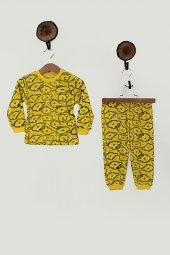Unisex Ayıcıklı Pijama Takımı (Sarı)