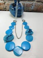 Kadın Mavi Şifon Detaylı Uzun Kolye