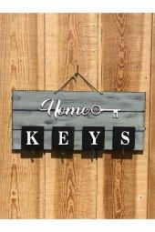 Home Ahşap El Yapımı Anahtarlık, Askılık Eskitme Gri