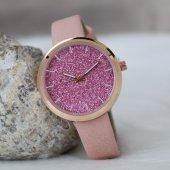 Pembe Deri Kordonlu Rose Renk Çelik Kasa Simli Bayan Saat