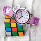 Kalp Desenli Pembe Renk Deri Kordonlu Fiyonk Tasarımlı Kasa Pinkoli Çocuk Saati