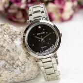 Gümüş Renk Taş Tasarım Özel Cam Siyah Kadran Spectrum Premium Bayan Kol Saati