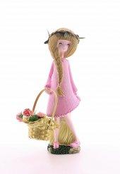 Dekoratif Sepeti Çiçek Dolu Tatlı Kız Biblo 25 cm