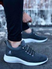 BA0601 Bağcıklı Rahat Yüksek Taban Füme Beyaz Casual Erkek Spor Ayakkabı