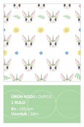 Sevimli Tavşan Çiçek | Çocuk Odası | Özel Tasarım Duvar Kağıdı | 105cm X 10 Metre
