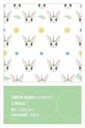 Sevimli Tavşan Çiçek   Çocuk Odası   Özel Tasarım Duvar Kağıdı   105cm X 15 Metre