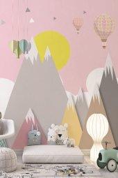 Dağ Ve Uçan Balonlar   Doğa   Özel Tasarım Duvar Kağıdı   300x500h