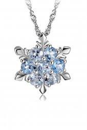 Mavi Zirkon Gümüş Kar Taneli Nişanlı Kolyesi FH13014