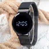 Black Watch Hasır Mıknatıslı Kordon Siyah Unisex Dokunmatik Kol Saati