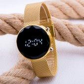 Sarı Hasır Kordon Led Watch Kesme Dijital Cam Bayan Kol Saati